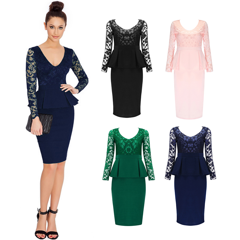 Stjubileens Women\'s Long Sleeve Peplum Lace Splicing Wear To Work ...