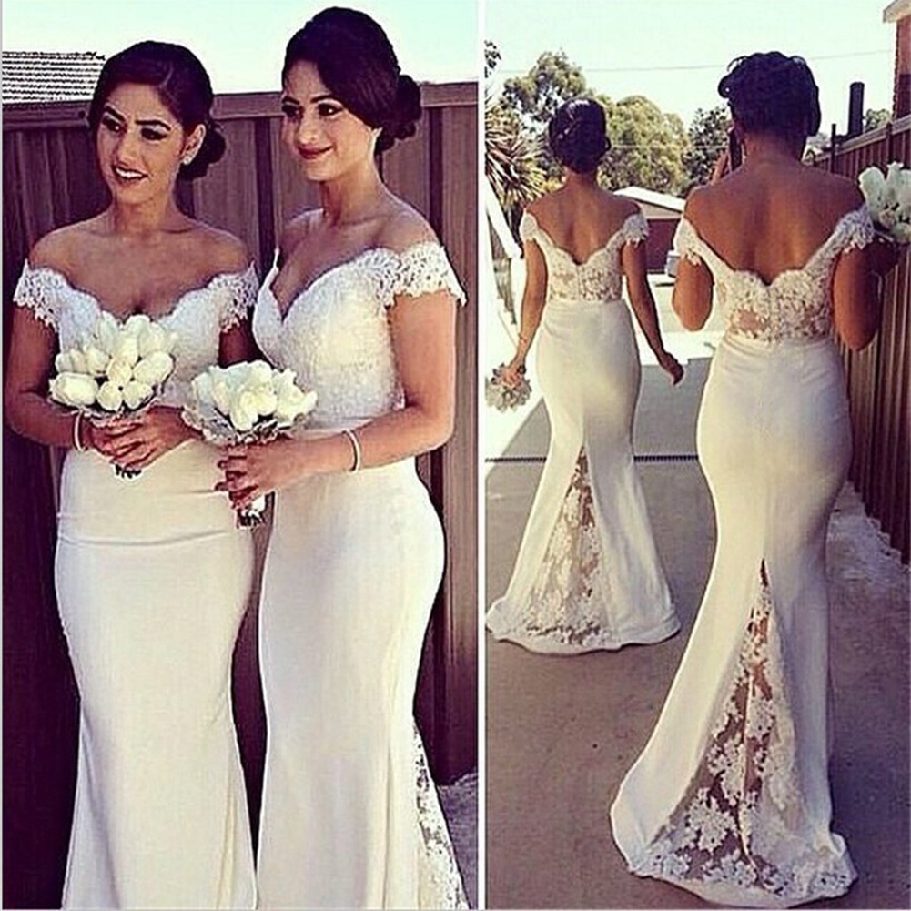 Stjubileens Women's Double V-neck Off Shoulder Lace Mermaid Wedding Gown Dresses